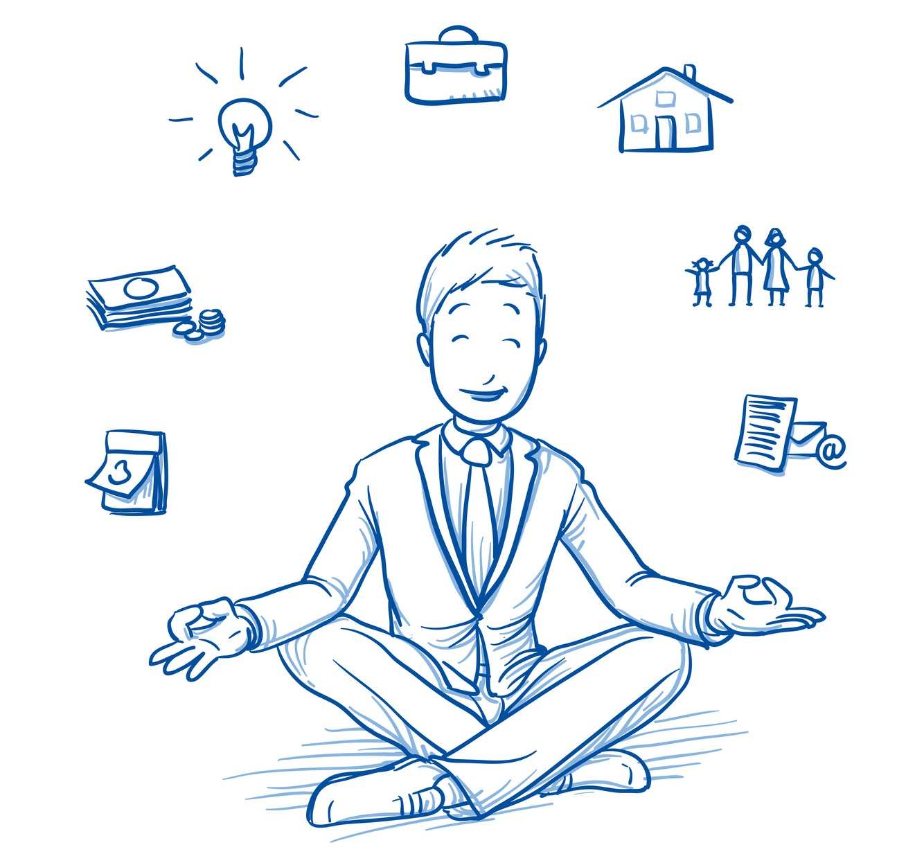 Happy young man in business suit sitting in yoga pose with icons of easily organizing life, business and family around him. Hand drawn line art cartoon vector illustration.
